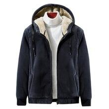 Chaqueta cálida de lana con capucha para hombre, abrigo térmico informal grueso de terciopelo suave, talla grande 4XL 5XL, novedad de invierno de 2019