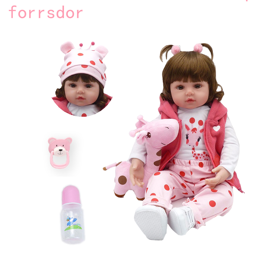 Newborn 19-inch silicone doll bebe reborn doll cute plush toy baby girl gives the child the best Christmas birthday child gift!(China)