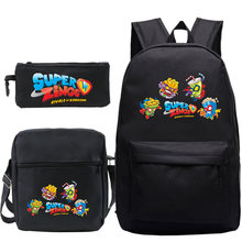 Super zings 3pcs set backpack mochila cartoon student superzings