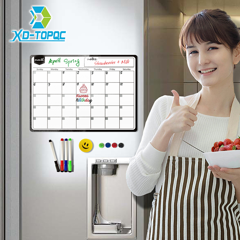 New Magnetic Calendar Whiteboard Monthly Planner Dry Wipe White Board Fridge Magnet 30*40cm Flexible Message Board For Notes