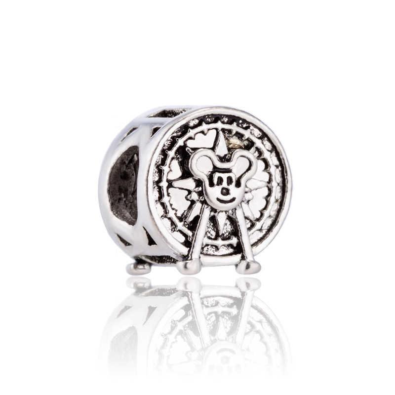 Gorąca sprzedaż kryształ klucz konia słoń złe oczy czterolistna koniczyna Mickey koraliki Fit Pandora Charms koraliki dla kobiet biżuteria Handmade
