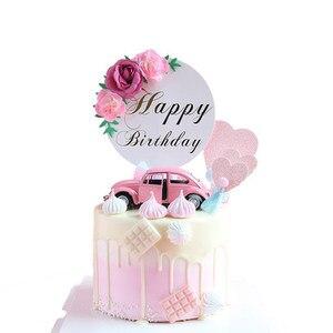 Image 2 - Décoration de gâteau danniversaire pour enfants, garniture de fleurs, fête des mères, fournitures de gâteau danniversaire pour bébé, décoration de gâteaux