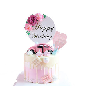 Image 2 - Flower Happy Birthday Cake Topper Mothers Day Cake Decorations Kids Birthday Cake Supplies Baby Shower Cupcake Topper