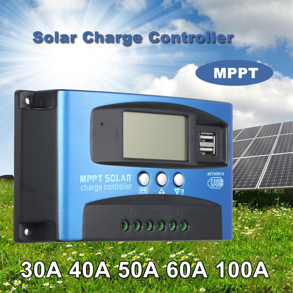 Image 2 - MPPT Solar Charge Controller Dual USB LCD Auto Solar Cell Panel Charger Regulator MPPT 60A 30A 40A 50A 100A Solar Regulador-in Solar Controllers from Home Improvement