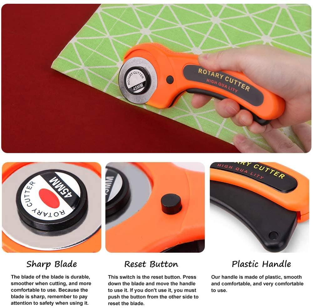 MIUSIE Fabric Bias Tape Makers Kit with Rotary Cutter, Sewing Clips, Sewing Machine Presser Foot, Rotary Cutter for Fabric-3