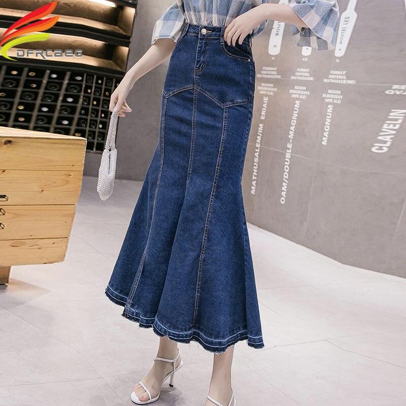 Spring Summer 2020 New Women Denim Mermaid Skirt Package Hip Streetwear Long Ruffles Blue High Waist Long Jean Skirt Women