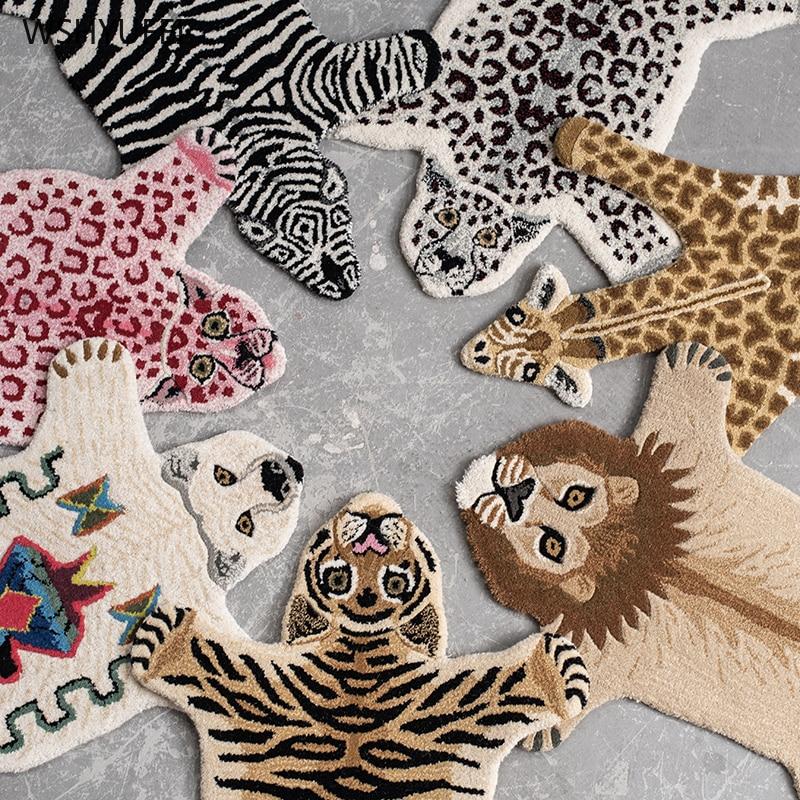 Handmade 80% Wool Cartoon Animal Tiger Leopard Hand-made 20% Cotton Home Carpet Living Room Sofa Bedroom Children Bedside Mat