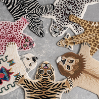 Handmade 80% wool cartoon animal tiger leopard hand made 20% cotton home carpet living room sofa bedroom children bedside mat