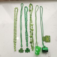 Jewellery Green Plating Plastic Necklace Kids Adult Irish St Patrick's Day Jewelry For Female Patrick's Day Decoration Supplies(China)