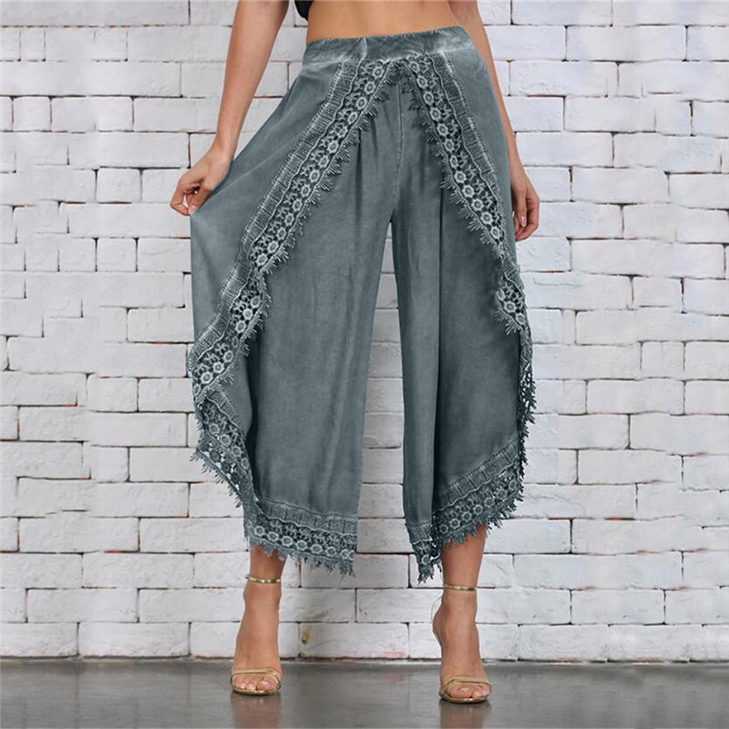 Lady Wear Mori Girl Elastic Waist Lace Crochet Wide Leg Pants Calf-length Cotton Trousers Hippie Boho Women Capris Pants
