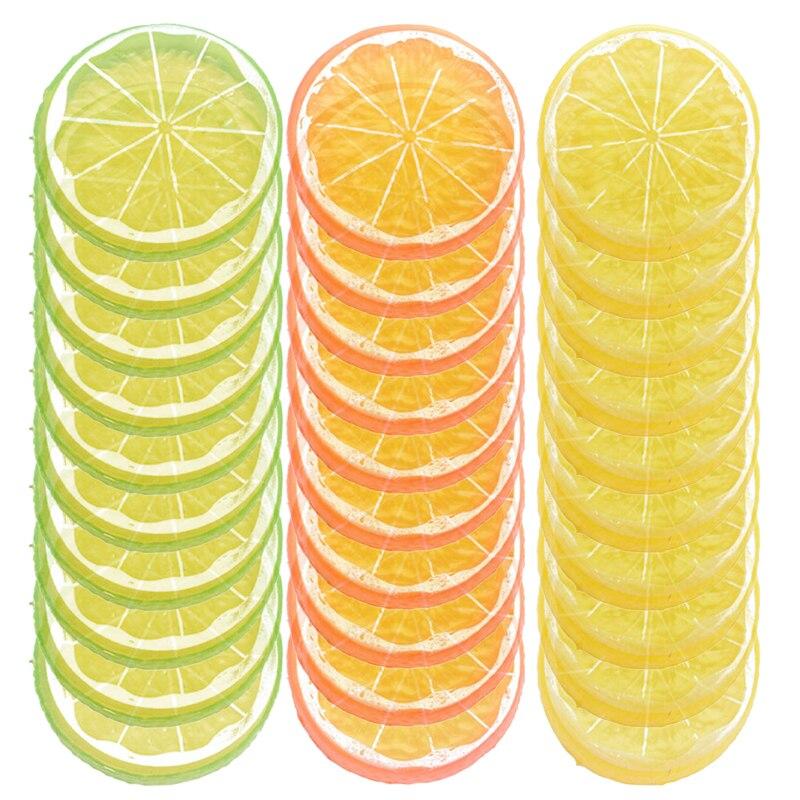 10set 5CM Artificial Lemon Slice Plastic DIY Fruit Lemon Slice Ornament for Home Decor Scenes Props