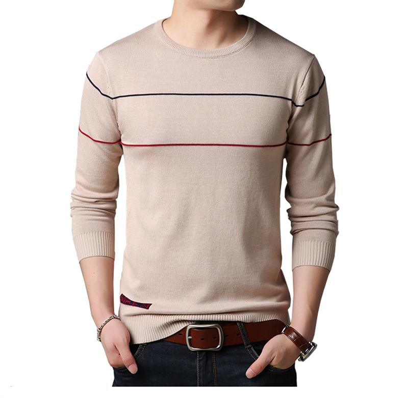 Men Autumn Sweater Striped Knitted Sweater High Quality Male Casual Slim Pullovers Long Sleeve O-Neck Men Sweater 2019 New Hot