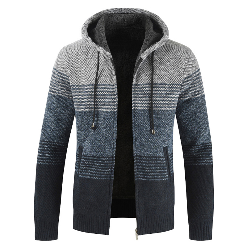 2020 Winter Sweater Coat Men Thick Warm Hooded Cardigan Jumpers Men Striped Wool Liner Zipper Fleece Coats Men