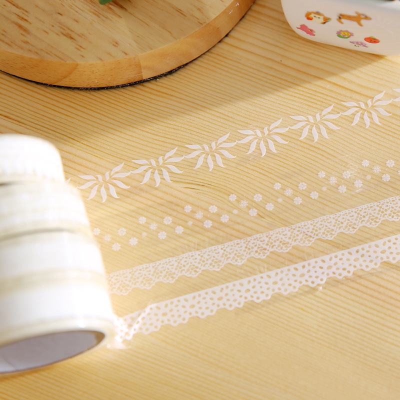 10 Pcs/lot White Lace Bullet Journal Washi Tape Decorative Adhesive Tape DIY Scrapbooking Sticker Label Cute Japanese Stationery