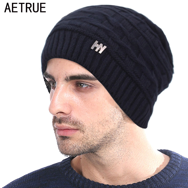 Brand Winter Knitted Hat Skullies Beanies Men Winter Hats For Men Women Bonnet Cap Mask Warm Thick Male Solid Winter Beanie Hat