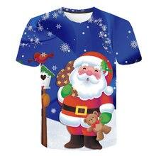 2020 novo natal t camisas 3d impressão bonito papai noel feliz celebração meninos meninas roupas férias tshirt grandes dimensões crianças roupas