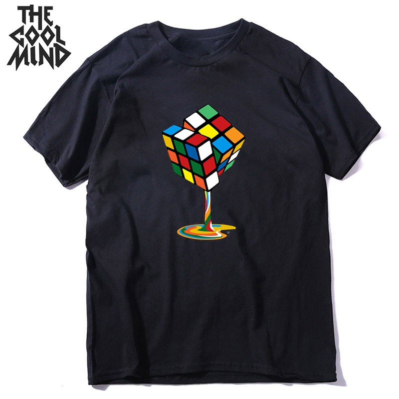 COOLMIND Cotton Summer Melting Magic Cube Men T Shirt Casual Loose Streetwear Hip Hop Print Men Tshirt Funny Tops Tee Shirts