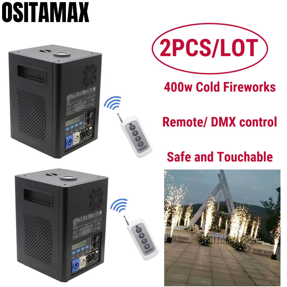 2pcs/lot Free Shipping Mini Fireworks Machine 400W Cold Spark Wedding Flame Fountain DMX And Remote Control Sparkly Machine