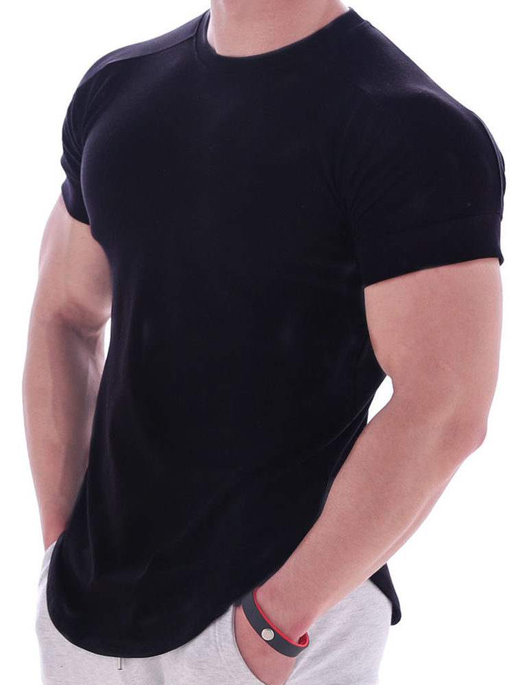 Shirt Summer Short-Sleeve Gym Fitness Bodybuilding Casual Tee Sports Cotton Solid Tops