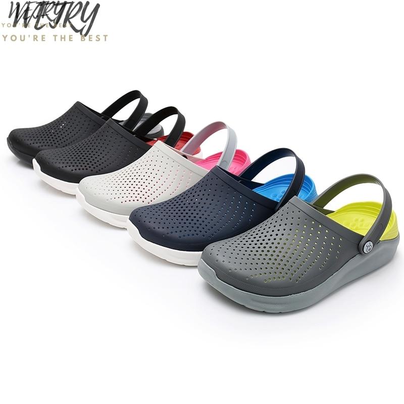 2020 Men Sandals Crocks LiteRide Hole Shoes Crok Rubber Clogs For Men EVA Unisex Garden Shoes Black Crocse Adulto Cholas