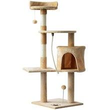 PawHut Arbol para gatos Rascador Grande con Plataformas Casetas Bolas de Juego 114cm Cubierto de Felpa Beige