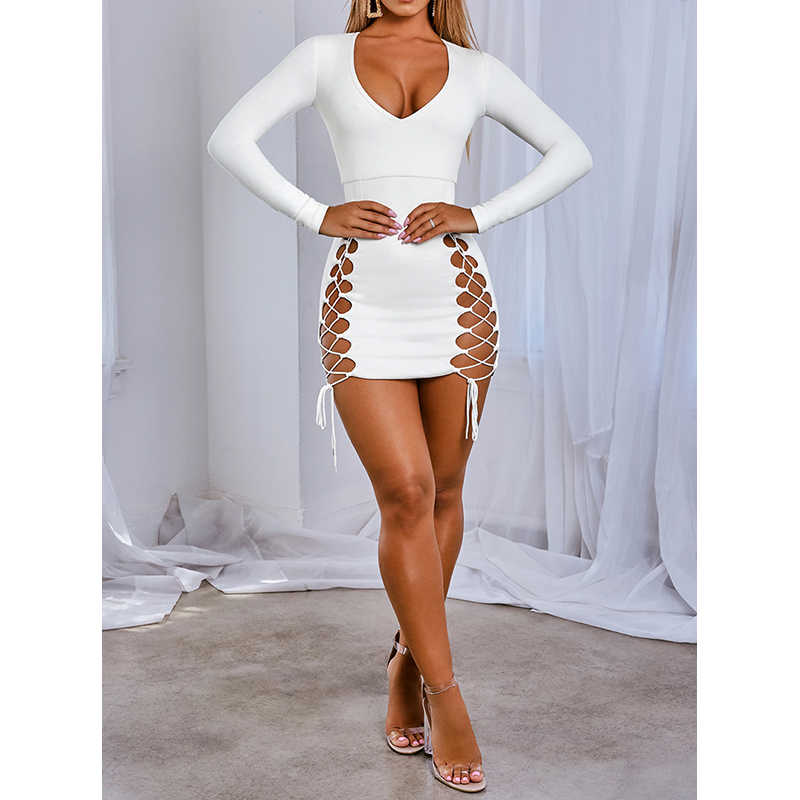Frauen Bodycon Mini Sexy Kleid 2019 Herbst Winter Elegante Party Nacht Club Wrap Kleider Langarm Weiß Aushöhlen Kleidung AB1786