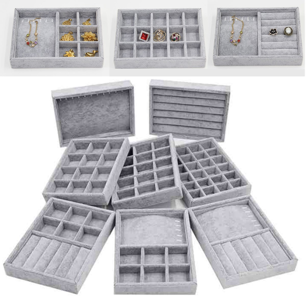 8 Style Elegant Grey Velvet Stackable Jewelry Ring Earring Bracelet Display Tray 24 Girds Case Holder Organizers Storage Showcas