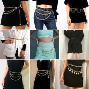Chain-Belt Dress Body-Chain-Accessories Waist-Chains Gold-Link Vintage Women Fashion