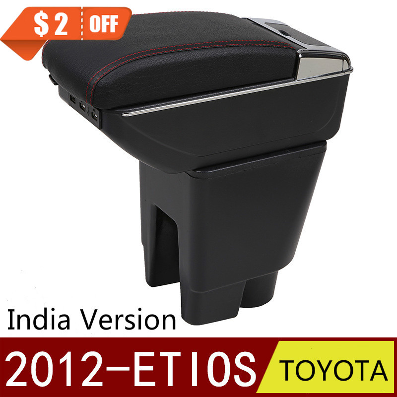 For TOYOTA ETIOS 2012- Armrest Box Free Punch Hand-held Storage Box India Version