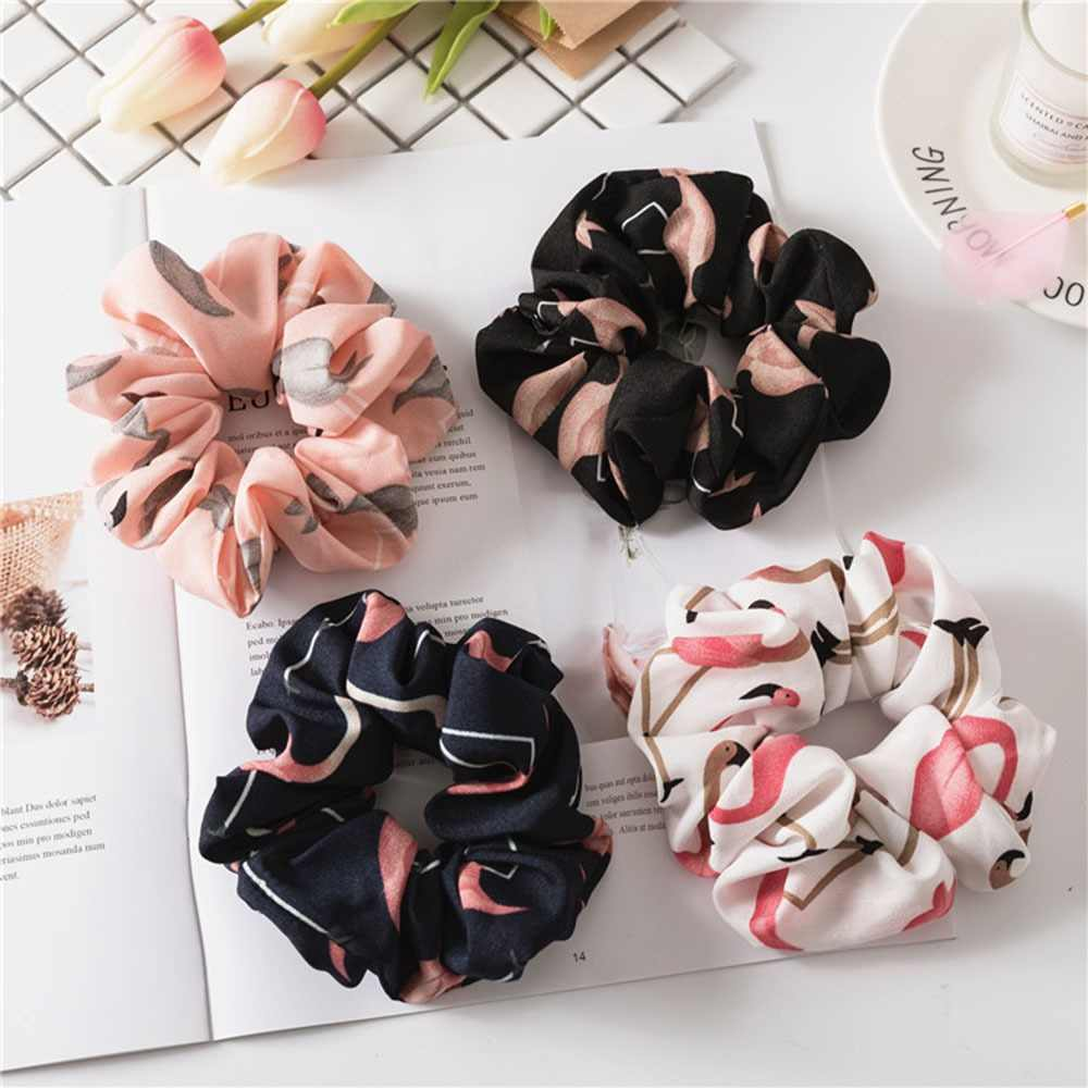 Floral Flamingo Solid Design Hairband Women Hair Accessories Hair Tie Scrunchie Ponytail Hair Holder Rope