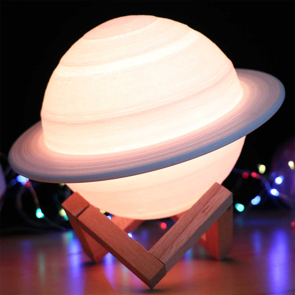 Светодиодный ночсветильник с сенсорным датчиком и дистанционным управлением, 3D Рисунок, USB-зарядка, декоративная лампа с планетами для детей, подарок для детей