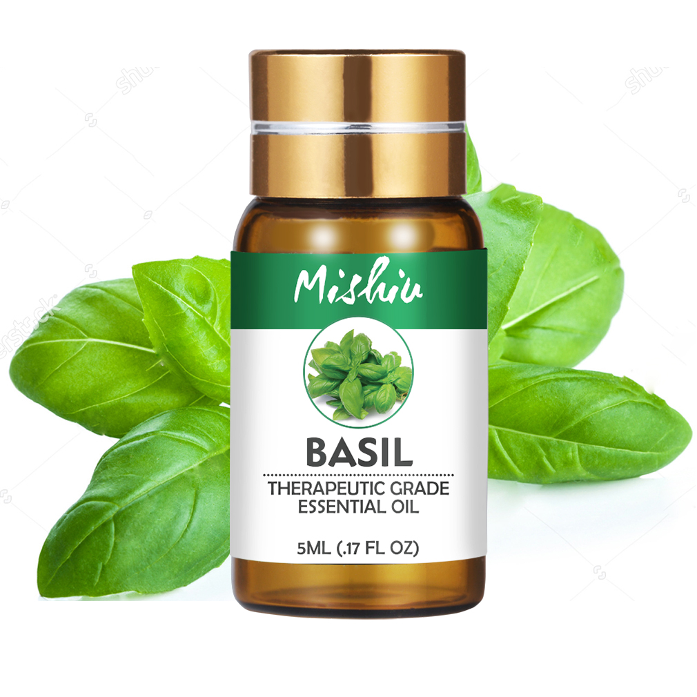 Mishiu Basil Pure Essential Oil Fragrance Aroma Diffusers Essential Oils Organic Body Relieve Stress Skin Care Oils 5ML
