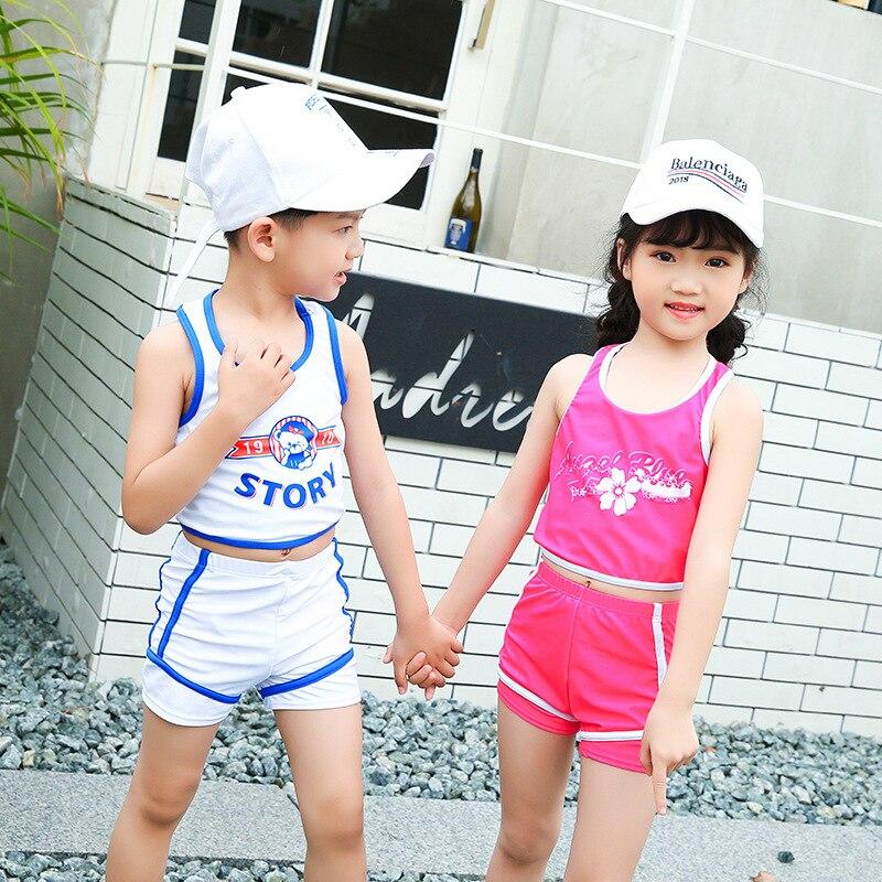 Sports Two-piece Swimsuits Children Baseball Uniform Beach Set BOY'S Girls Swimwear Hot Springs Students Swimwear Quick-Dry