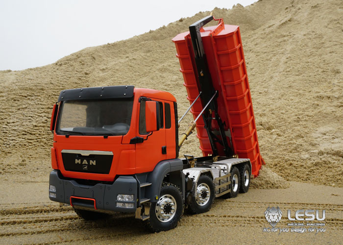 LESU RC Paint Dumper Roll On/Off Truck 1/14 MAN TGS 8*8 Hydraulic Lifting Sound With Remote Controller Painting Red THZH0345