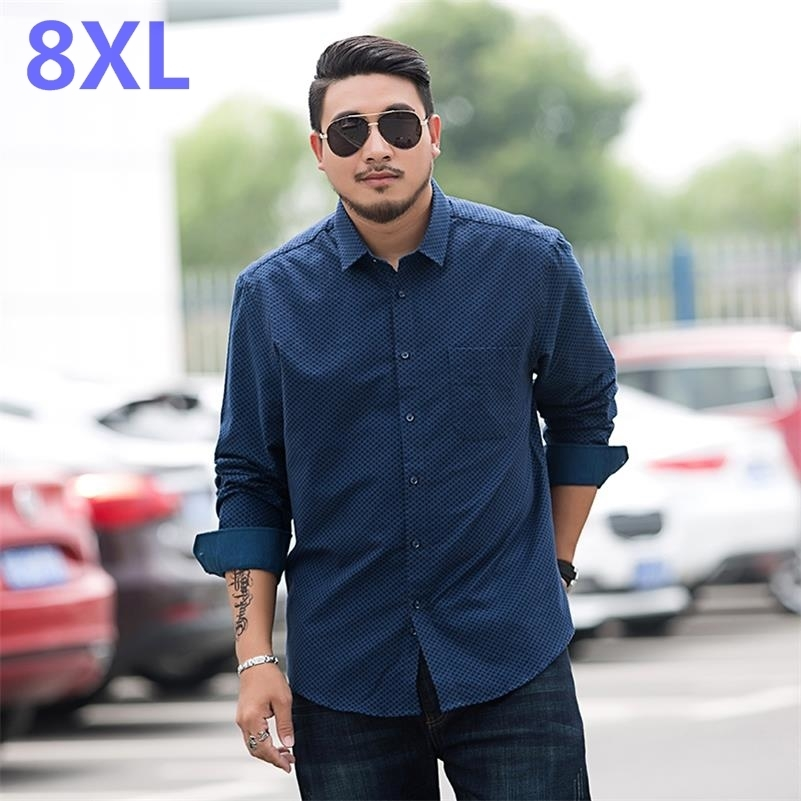 Youth Plus Size 8XL 7XL 6XL 5XL Men Long Sleeve Shirt  New Men's Casual Fat Fat Plaid Shirt Male Shirt Big  Smart Casual
