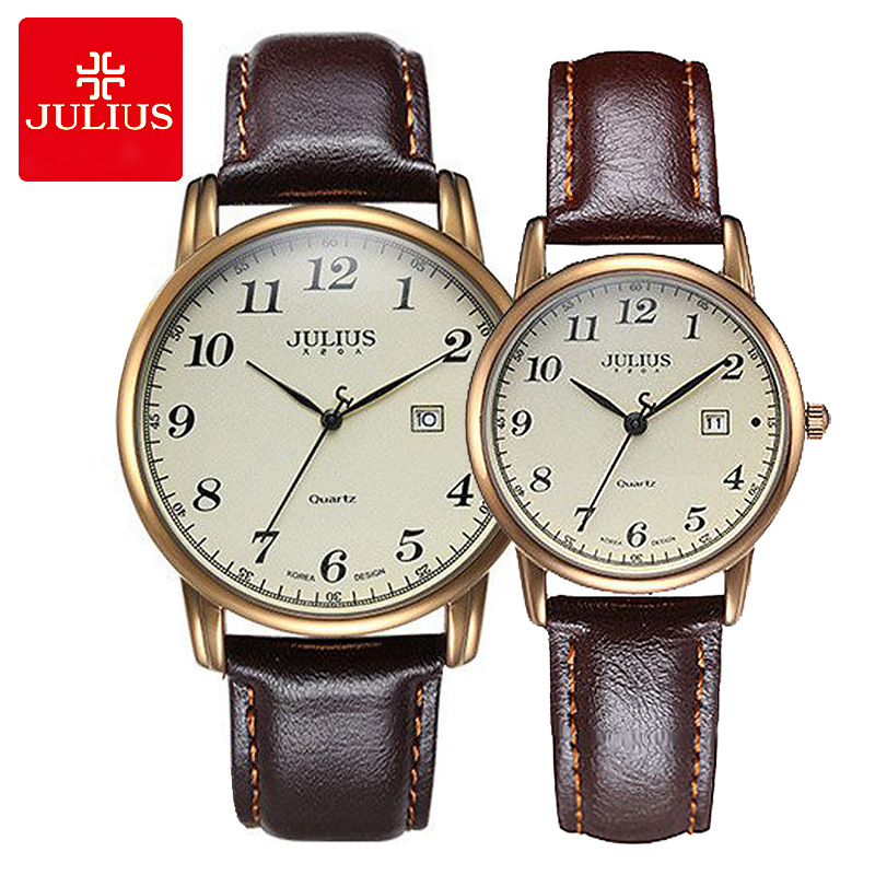 Julius Women's Men's Wrist Watch Quartz Hours Auto Date Fine Fashion Dress Leather Couple Lovers' Birthday Gift JA-508