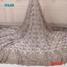 Лидер продаж ручной работы кружевная ткань с бусинами высокое качество африканские ткани с сетчатыми кружевами в нигерийском стиле Тюль кружевная ткань с блестками для свадьбы YA2895B-1