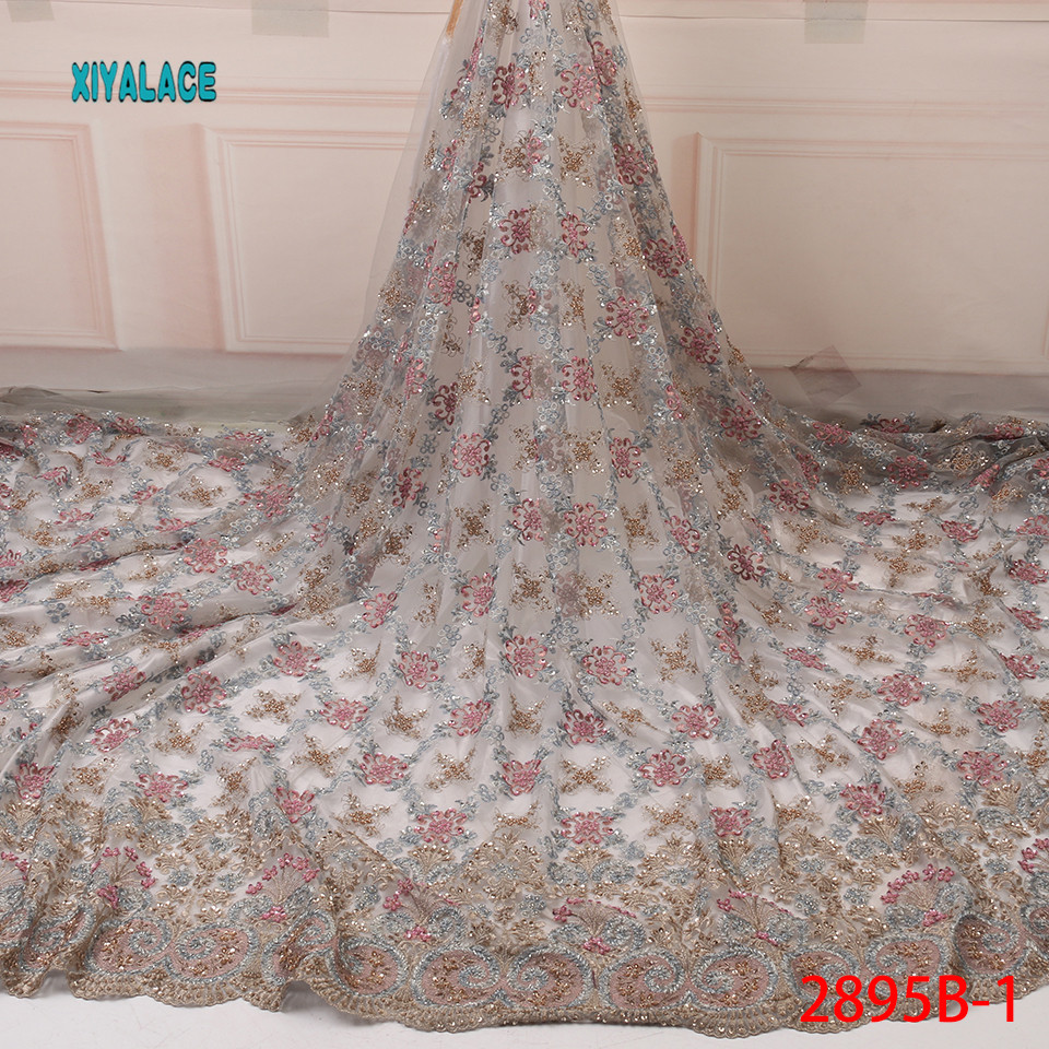 Hot Sale Handmade Beads Lace Fabric High Quality 2019 African Net Laces Fabrics Nigerian Tulle With For Wedding YA2895B-1