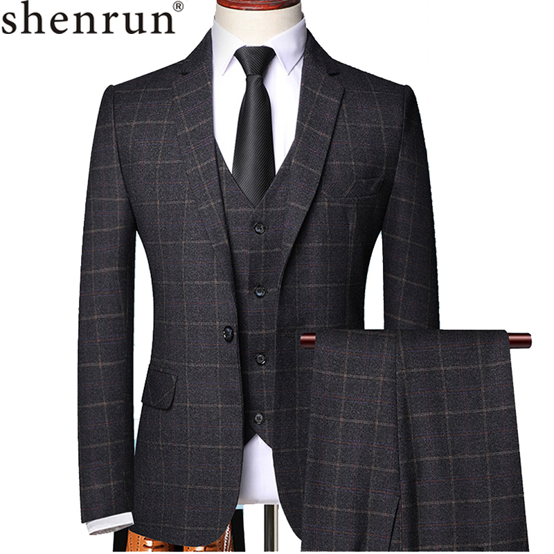 Shenrun Men 3 Pieces Suit Spring Autumn Plaid Slim Fit Business Formal Casual Check Suits Office Work Party Prom Wedding Groom