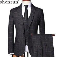 Shenrun men 3 peças terno primavera outono xadrez fino ajuste negócios formal casual verificar ternos escritório trabalho festa de formatura casamento noivo