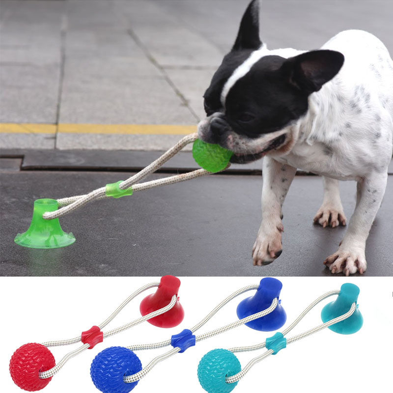 Pet Toys Suction Cup Rubber Dog Chew Toys Pet Ball Tug Toy Tooth Cleaning Chewing Puppy Pet Toy Tug Rope Handle