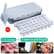 64 Grid Silicone Ice Cube Tray Ice Cube Mold Ice Maker Box With Lid Candy Cake Pudding Chocolate Molds Containers Cube Grid Mold skeleton skull head silicone chocolate muffin cupcake candy ice cube mold halloween