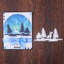 Kokorosa Christmas Tree Deer Elk Dies for Card Making Merry Metal Cutting Scrapbooking Craft Stencil Die Cut