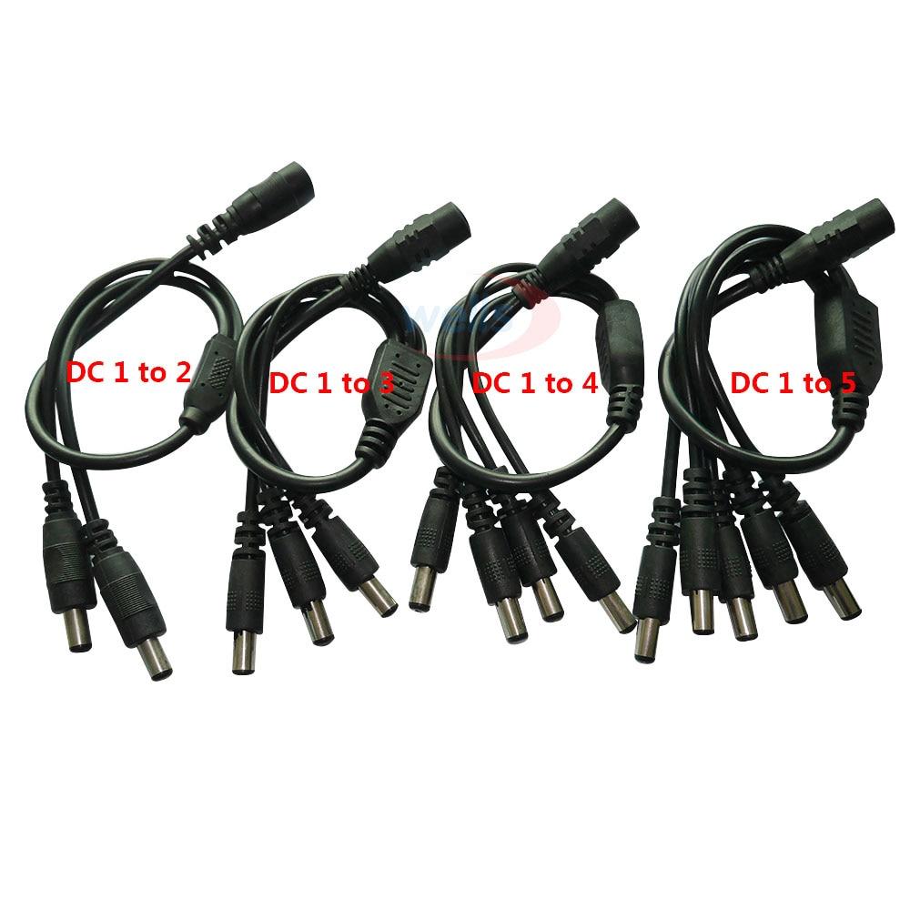 1 шт. DC 2,1*5,5 мм 1 гнездовой к 2 3 4 5 Мужской DC силовой сплиттер штепсельный кабель для камеры видеонаблюдения Аксессуары источник питания адапт...