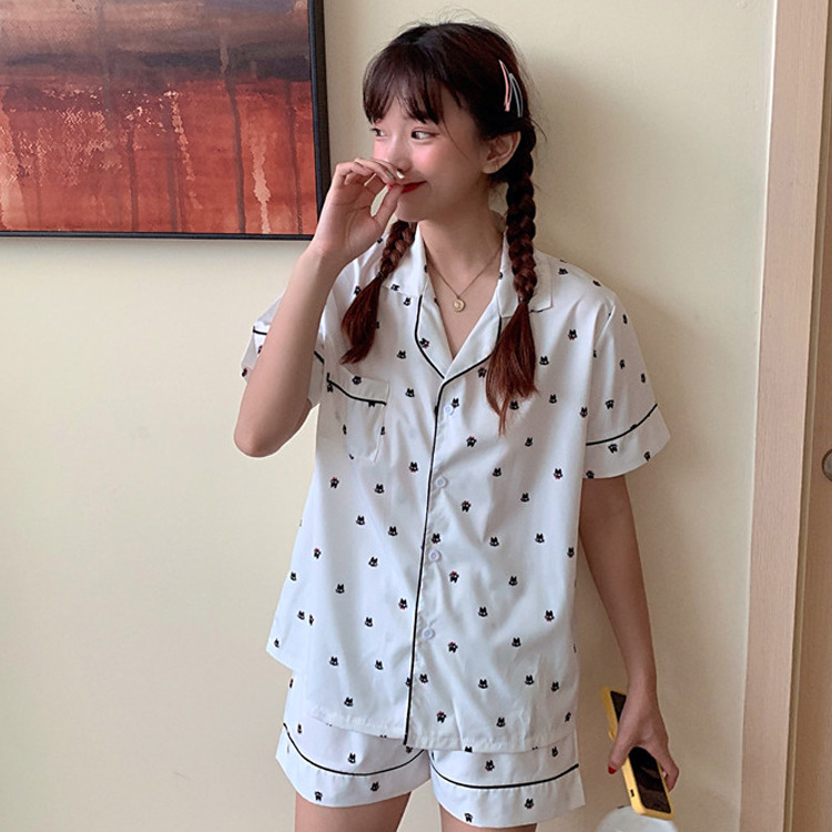 Online Celebrity Cat Pajamas 2019 Summer Korean-style Loose Thin Cute Sweet Student Home Wear Send Eye Patch
