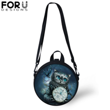 FORUDESIGNS Vintage Gothic Teenager Girls Round Shoulder Bag Women Kids Black Cat Printing Messenger Crossbody Satchel Daypack
