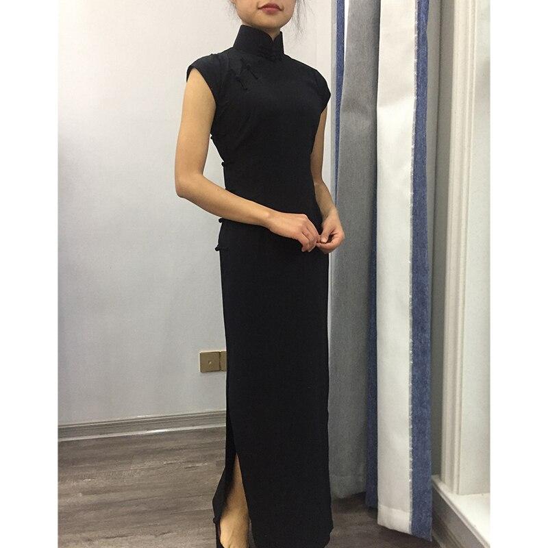 Customized Black Women Lady Traditional Chinese Dress Mandarin Collar Qipao Oversize Long Slim Split Cheongsam - 2