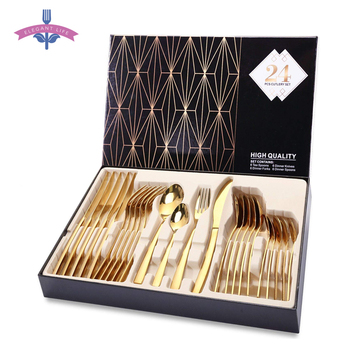 24PCS Gold Tableware Cutlery Dinner Set Cutlery Sets Dishes Knives Forks Spoons Western Kitchen Dinnerware 18/10 Stainless Steel