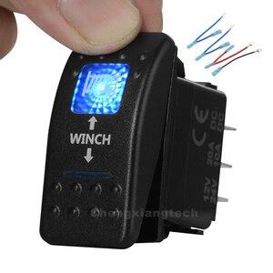 Image 1 - Interruptor de encendido y apagado momentáneo, Led azul, 7P, interruptor basculante DPDT, cabrestante, impermeable, coche, barco, 12v/24v + juego de cables de puente
