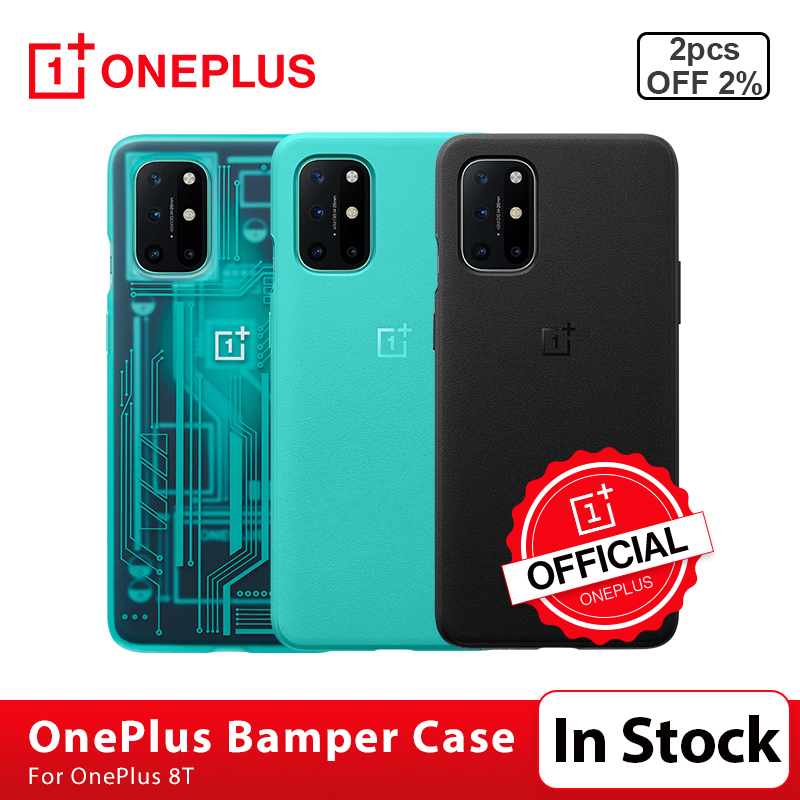 100% oryginalny pokrowiec OnePlus 8 T pokrowiec z piaskowca Karbon Bamper pokrowiec ochronny 3D ochronne szkło hartowane na ekran OnePlus 8 T 8 T|Obudowa telefonu|   -